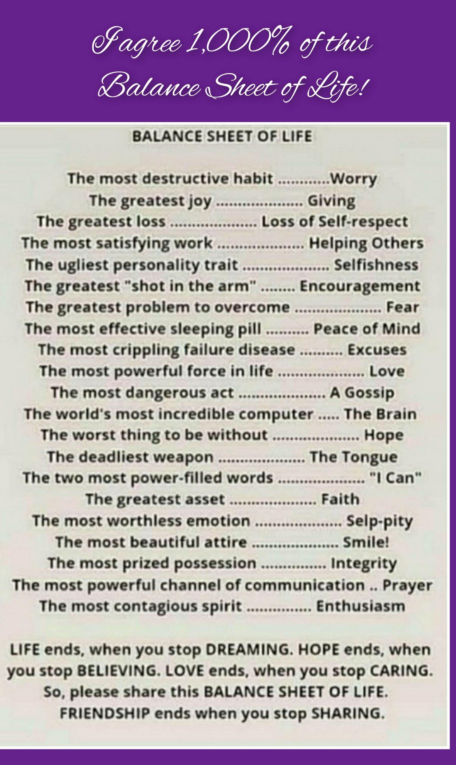 Check (your)Balance Sheet of Life